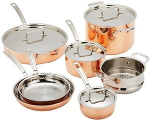 cuisinart ctp11am copper triply stainless steel 11piece cookware set
